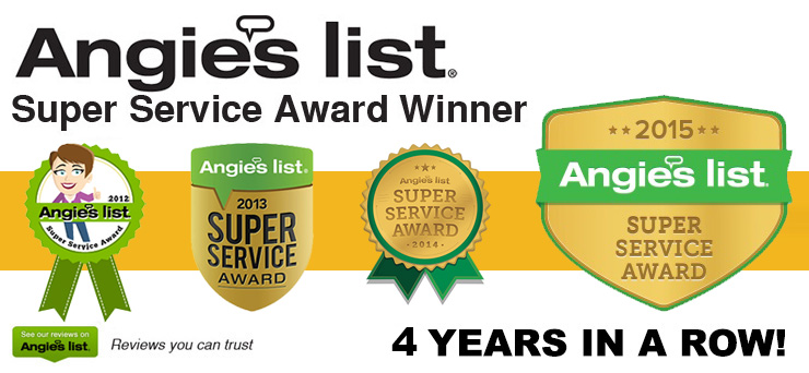 Angies List Super Service Award 2012-2013-2014-2015