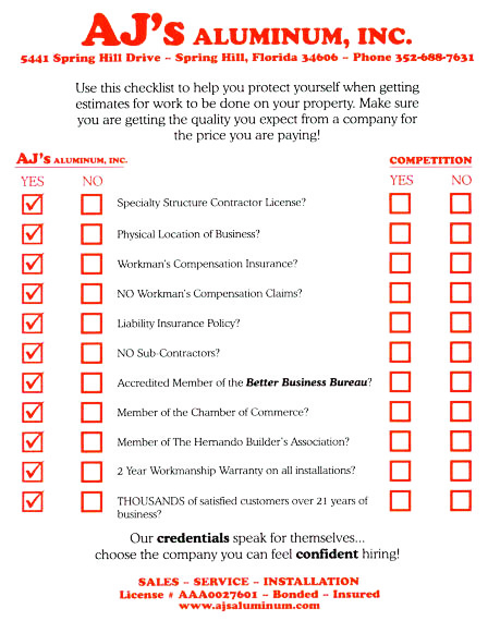 Aluminum Contractor Free Estimate Checklist
