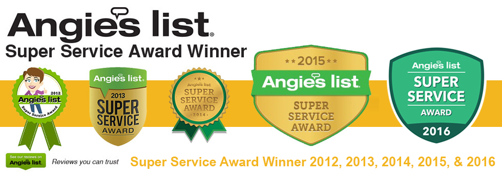 Angies List Super Service Award 2012, 2013, 2014, 2015, and 2016