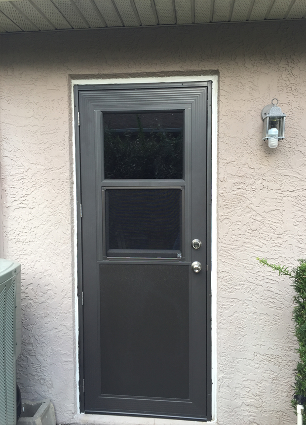 Storm doors photo gallery specialized aluminum products for Storm door with roll up screen
